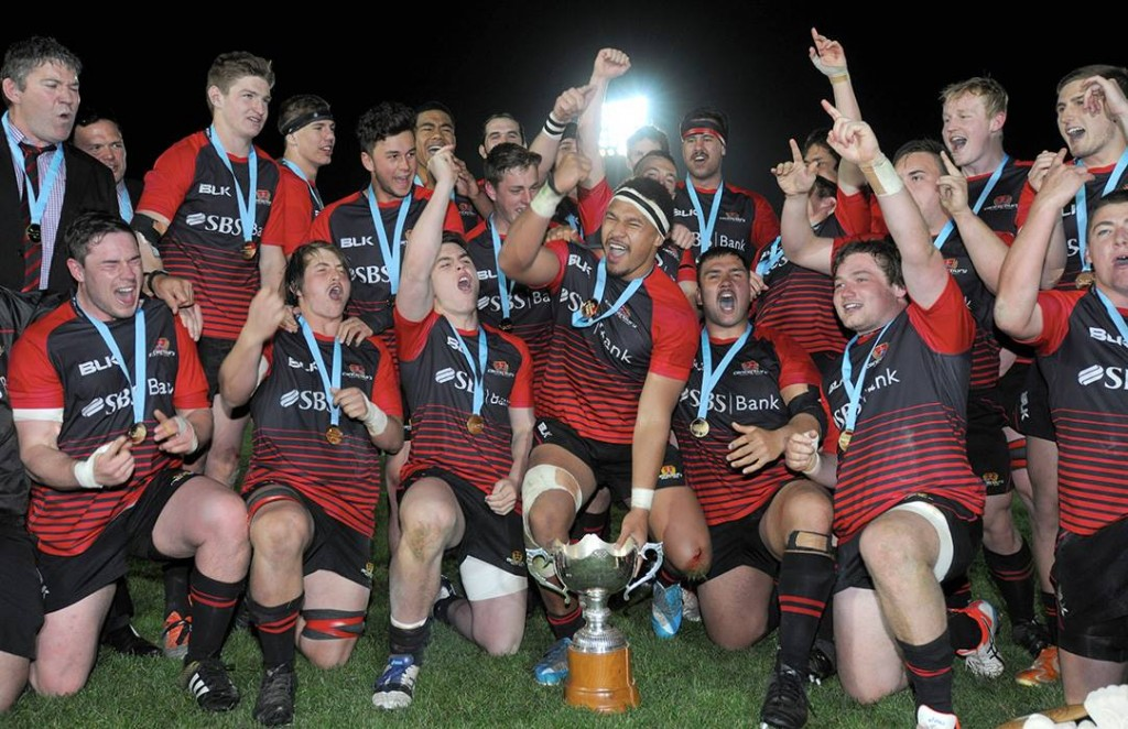 Canterbury celebrate after winning the Jock Hobbs Memorial Under-19 Provincial rugby union tournament Graham Mourie Trophy final between Waikato and Canterbury at Owen Delaney Park, Taupo, New Zealand on Saturday, 03 October 2015.