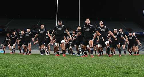 AUCKLAND, NEW ZEALAND - JULY 18: The Maori All Blacks perform the haka prior to the match between the New Zealand Maori All Blacks and the New Zealand Barbarians at Eden Park on July 18, 2015 in Auckland, New Zealand. (Photo by Hannah Peters/Getty Images)