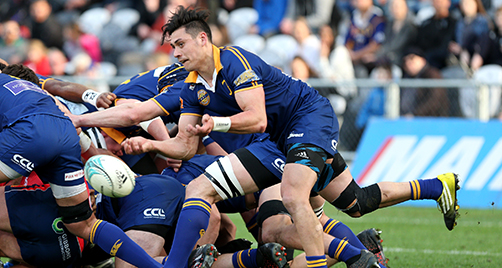 DUNEDIN, NEW ZEALAND - SEPTEMBER 10: Jonathan Ruru of Otago gets the ball away during the round four Mitre 10 Cup match between Otago and Tasman at Forsyth Barr Stadium on September 10, 2016 in Dunedin, New Zealand. (Photo by Dianne Manson/Getty Images)